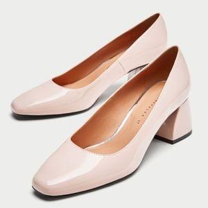 NWT - Zara Patent Leather block heels pink SZ 6